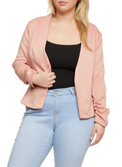 Plus Size Soft Knit Blazer with Ruched Sleeves - DUSTY ROSE - 1802062701309