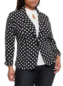 Plus Size Polka Dot Single Button Blazer - 1802062701310