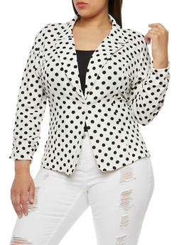Plus Size Polka Dot Single Button Blazer - 1802062701310