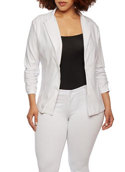 Plus Size Single Button Blazer with Ruched Sleeves - 1802062703015