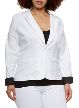 Plus Size Solid Blazer with Faux Pockets - 1802062703057