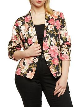 Plus Size Floral Open Front Blazer - BLACK   MID 253 - 1802062703097