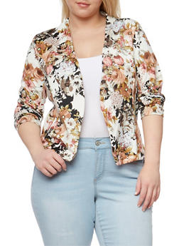 Plus Size Floral Open Front Blazer - TAN  TAUPE 254 - 1802062703097