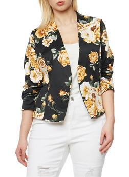 Plus Size Floral Open Front Blazer - 1802062703097