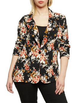 Plus Size Single Button Floral Blazer - BLACK  204 - 1802062703100
