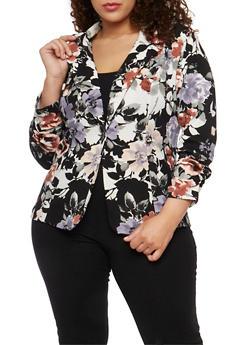 Plus Size Single Button Floral Blazer - GRAY  309 - 1802062703100