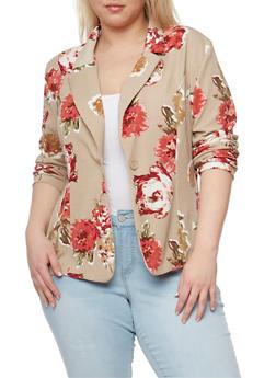 Plus Size Single Button Floral Blazer - TAN   TAUPE 286 - 1802062703100