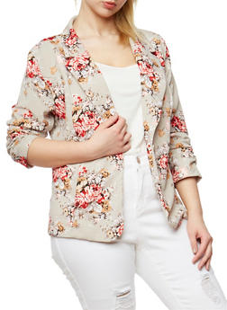 Plus Size Single Button Floral Blazer - 1802062703100