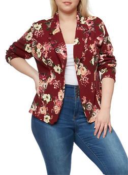 Plus Size Single Button Floral Blazer - BURGUNDY  287 - 1802062703100