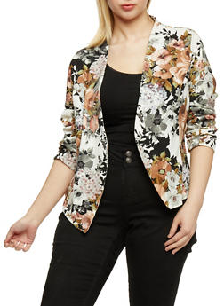 Plus Size Floral Long Sleeve Blazer - 1802062703102