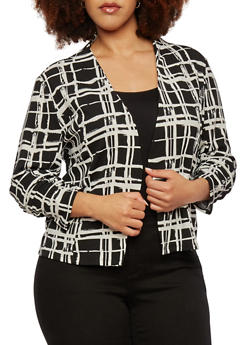 Plus Size Open Blazer with Ruched Sleeves - 1802062704741