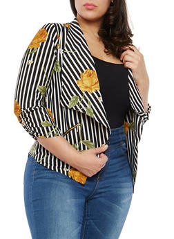 Plus Size Mustard Floral Striped Blazer - 1802068700012