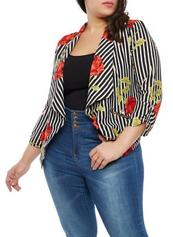 Plus Size Striped Floral Blazer - 1802068700013