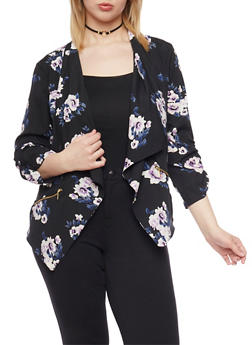 Plus Size Floral Draped Collar Blazer - BLACK/IVORY #560 - 1802068700028
