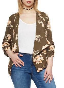 Plus Size Floral Draped Collar Blazer - OLIVE/PEACH F569 - 1802068700028