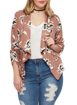 Plus Size Floral Draped Collar Blazer - MAUVE  #595 - 1802068700028
