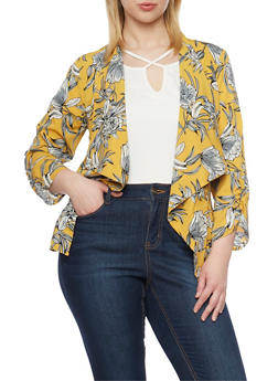 Plus Size Floral Draped Collar Blazer - 1802068700028