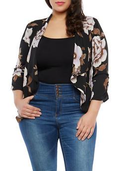 Plus Size Floral Blazer - 1802068700940