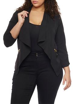 Plus Size Open Front Draped Lapel Blazer - BLACK - 1802068702833