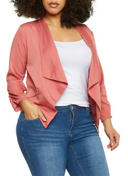 Plus Size Open Front Draped Lapel Blazer - D ROSE - 1802068702833
