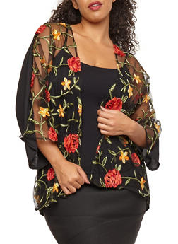 Plus Size Embroidered Mesh Front Cardigan - 1802074015089