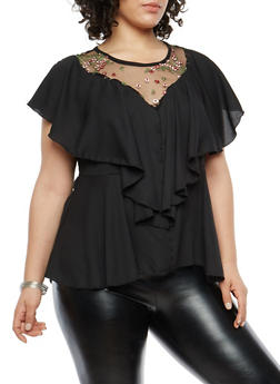 Plus Size Floral Embroidered Mesh Detail Top - 1802074015091
