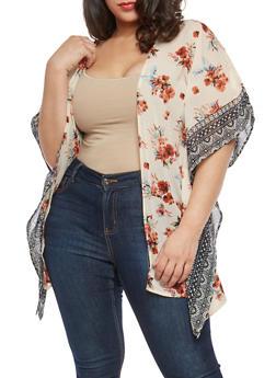 Plus Size Border Print Kimono - 1802074180015