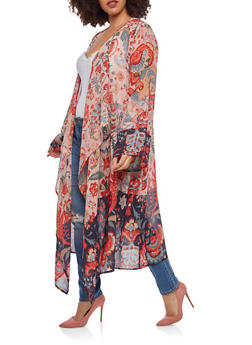 Plus Size Printed Duster - 1802074180016