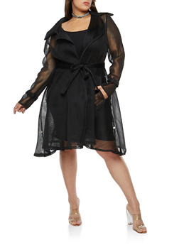 Plus Size Mesh Trench Coat - 1802074280626