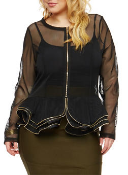 Plus Size Ruffled Mesh Peplum Jacket - 1802074280627