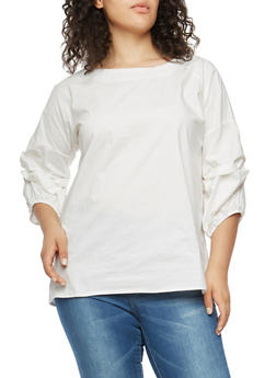 Plus Size Ruched Bubble Sleeve Top - WHITE - 1803030844030