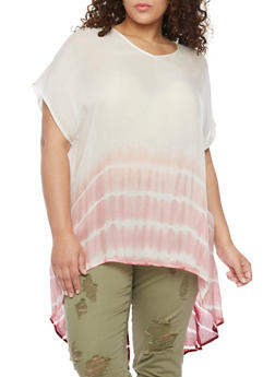 Plus Size Short Sleeve Tie Dye Top with High Low Hem and Back Split - 1803030844123