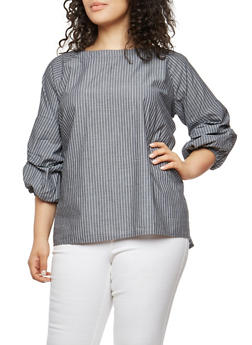 Plus Size Striped Bubble Sleeve Top - 1803030844234