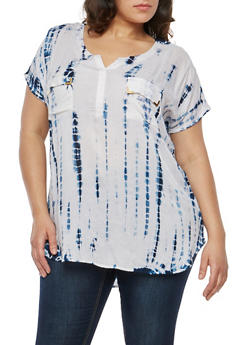 Plus Size Two Pocket Tie Dye Top - 1803038340603