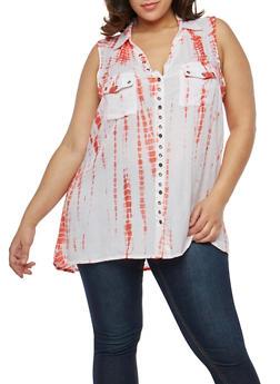 Plus Size Tie Dye Button Front Shirt - 1803038340604