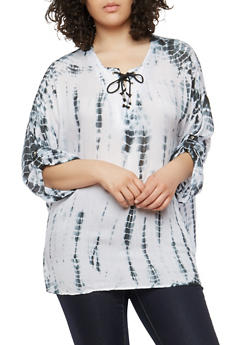 Plus Size Tie Dye Lace Up Top - BLACK - 1803038340605