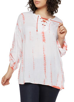 Plus Size Tie Dye Lace Up Top - CORAL - 1803038340605