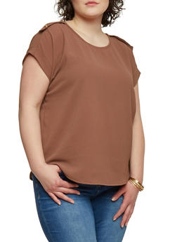 Plus Size Crepe Top with Tab Shoulders - 1803038342861