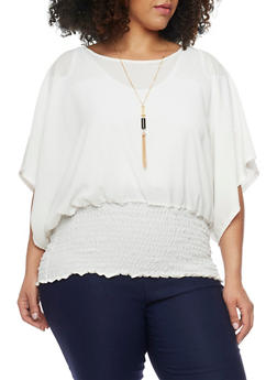 Plus Size Crepe Smocked Waist Blouse with Necklace - IVORY - 1803038342863