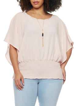 Plus Size Crepe Smocked Waist Blouse with Necklace - BLUSH - 1803038342863