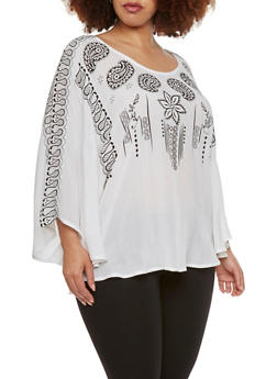 Plus Size Boho Top with Plunge Back - 1803038347605