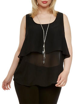Plus Size Layered Chiffon Top with Necklace - 1803038347623