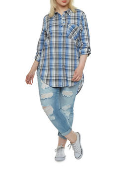 Plus Size Plaid Button Front Top with High-Low Hem - 1803038347634