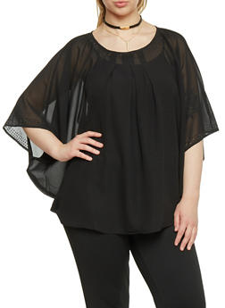 Plus Size Beaded Bat Wing Top - 1803038348607