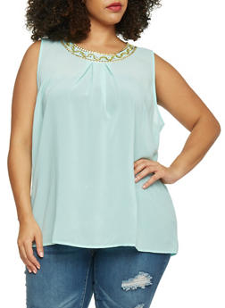 Plus Size Sleeveless Beaded Scoop Neck Top - 1803038348608