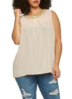 Plus Size Sleeveless Beaded Scoop Neck Top - BLUSH - 1803038348608