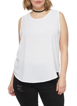 Plus Size Sleeveless Crepe Top with Back Zip - WHITE - 1803038348611