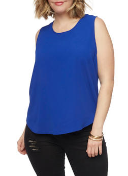 Plus Size Sleeveless Crepe Top with Back Zip - 1803038348611