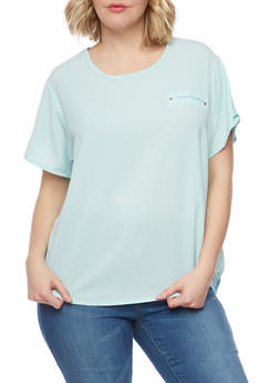 Plus Size Tabbed Crepe T Shirt with Back Slit - 1803038348612