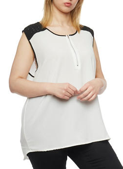 Plus Size Sleeveless Crepe Top with Studded Contrast Trim - 1803038348613